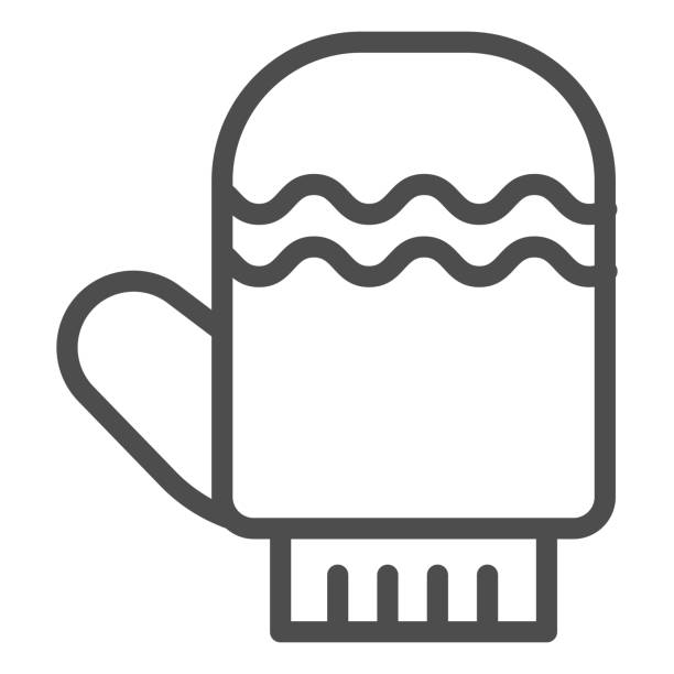 Glove line icon. Winter mitten item with waves symbol, outline style pictogram on white background. Christmas holiday sign for mobile concept and web design. Vector graphics. Glove line icon. Winter mitten item with waves symbol, outline style pictogram on white background. Christmas holiday sign for mobile concept and web design. Vector graphics winter weather clip art stock illustrations