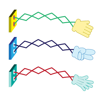glove on an extendable scissor arm and symbol Rock Paper Scissors .colorful tool funny toy.Retractable wall punching hand to pay sign, vector illustration.