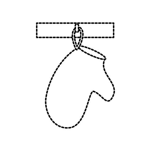 handschuh topflappen küche an der kante hängen - gesims stock-grafiken, -clipart, -cartoons und -symbole