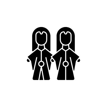 Glove puppets black glyph icon.