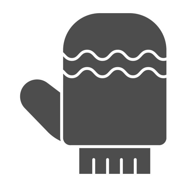 Glove solid icon. Winter mitten item with waves symbol, glyph style pictogram on white background. Christmas holiday sign for mobile concept and web design. Vector graphics. Glove solid icon. Winter mitten item with waves symbol, glyph style pictogram on white background. Christmas holiday sign for mobile concept and web design. Vector graphics winter weather clip art stock illustrations