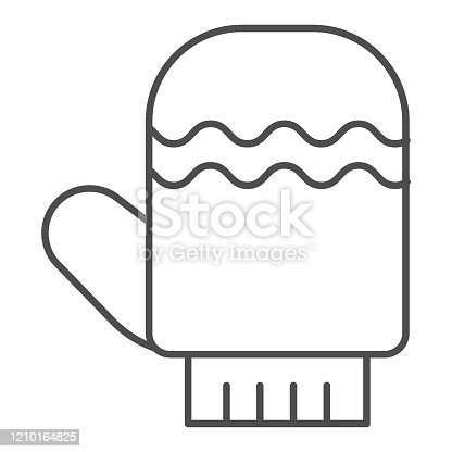 Glove thin line icon. Winter mitten item with waves symbol, outline style pictogram on white background. Christmas holiday sign for mobile concept and web design. Vector graphics