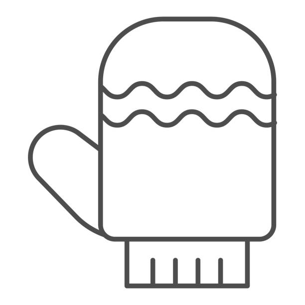 Glove thin line icon. Winter mitten item with waves symbol, outline style pictogram on white background. Christmas holiday sign for mobile concept and web design. Vector graphics. Glove thin line icon. Winter mitten item with waves symbol, outline style pictogram on white background. Christmas holiday sign for mobile concept and web design. Vector graphics winter weather clip art stock illustrations