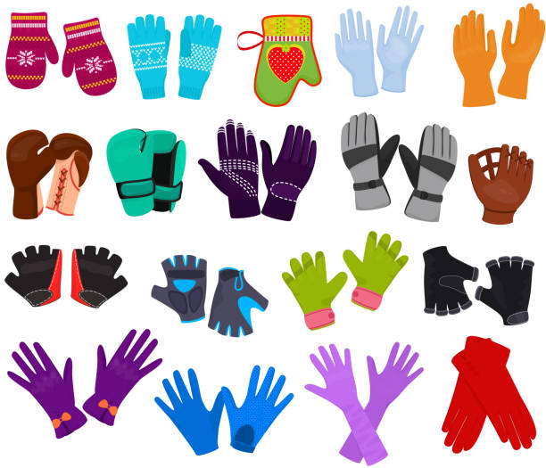 Glove vector woolen mittens and protective pair of gloves illustration set of boxxing-gloves or knitted mitts for hand fingers isolated on white background Glove vector woolen mittens and protective pair of gloves illustration set of boxxing-gloves or knitted mitts for hand fingers isolated on white background. mitten stock illustrations