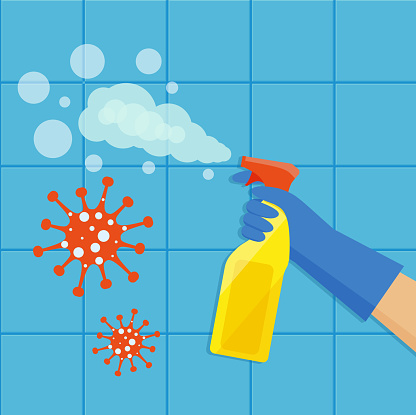 A gloved hand holds a bottle of antiseptic spray. Cleaning service. Disinfection of the coronavirus. Vector illustration in flat style