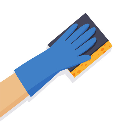 A gloved hand holds a washcloth. Cleaning service. Vector illustration in flat style