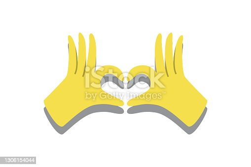 istock Gloved hands making heart sign trendy colors 2021 1306154044