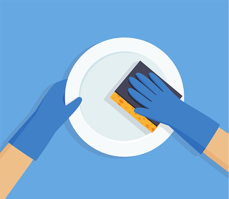 Gloved hands washing dishes. Vector flat illustration