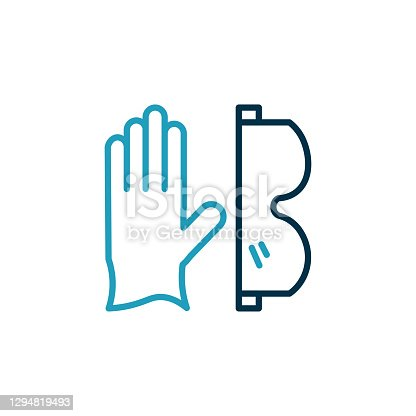 istock Gloves and glasses line icon.Editable Stoke 1294819493