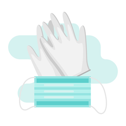 Gloves and mask in flat style.