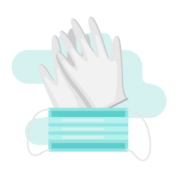 Gloves and mask in flat style. Gloves and mask in flat style. Medical illustration isolated on white background. protective glove stock illustrations