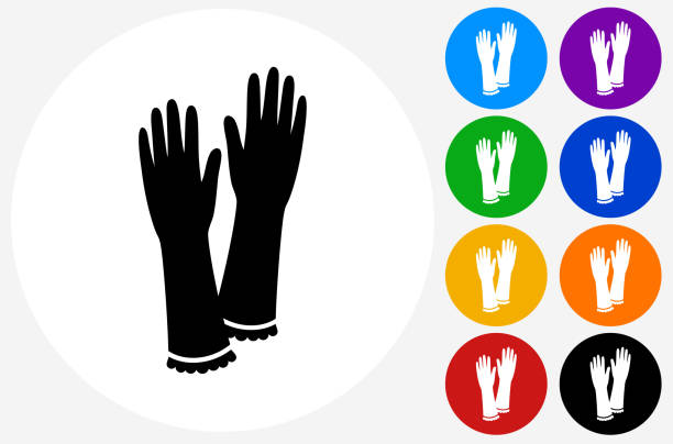 Gloves Icon on Flat Color Circle Buttons Gloves Icon on Flat Color Circle Buttons. This 100% royalty free vector illustration features the main icon pictured in black inside a white circle. The alternative color options in blue, green, yellow, red, purple, indigo, orange and black are on the right of the icon and are arranged in two vertical columns. formal glove stock illustrations