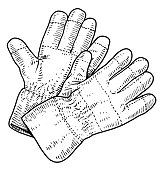 Gloves illustration, drawing, engraving, ink, line art, vector