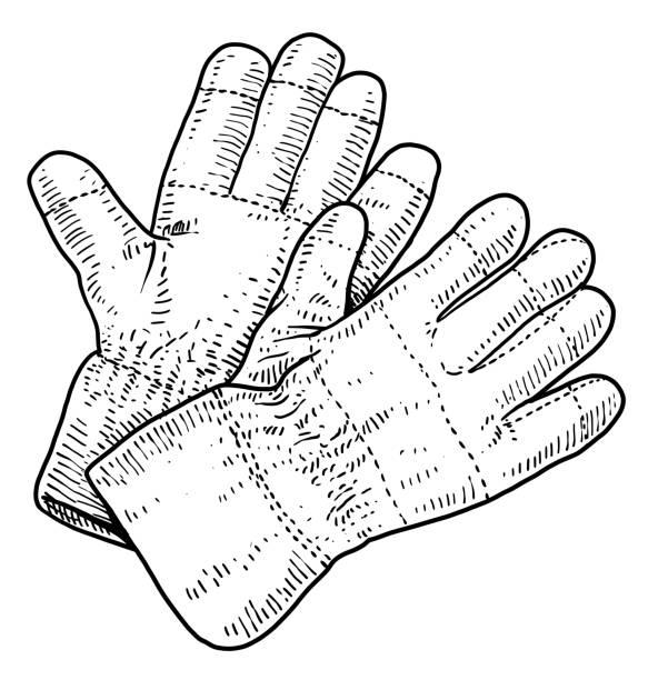 handschuhe-illustration, zeichnung, gravur, tinte, strichzeichnungen, vektor - schutzhandschuhe stock-grafiken, -clipart, -cartoons und -symbole