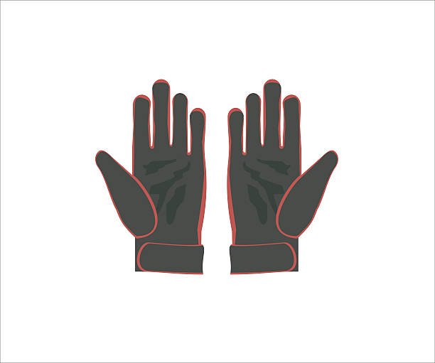 gloves simple illustration illustration of a pair of black gloves with red ornaments formal glove stock illustrations