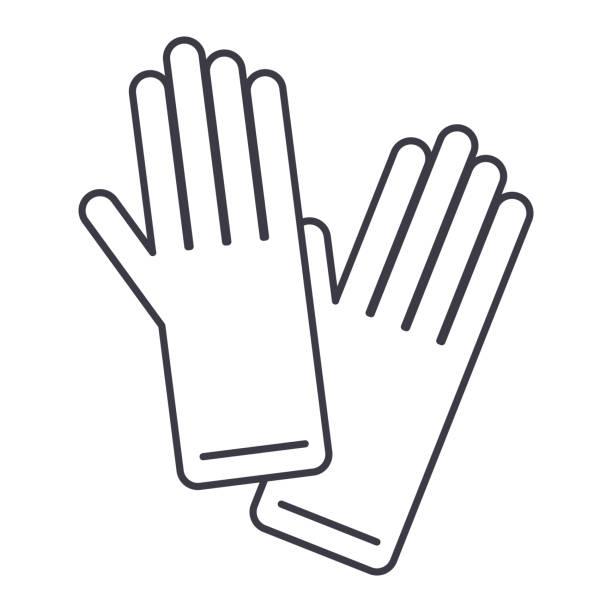 handschuhe vektor-liniensymbol, zeichen, illustration auf hintergrund, editierbare striche - schutzhandschuhe stock-grafiken, -clipart, -cartoons und -symbole