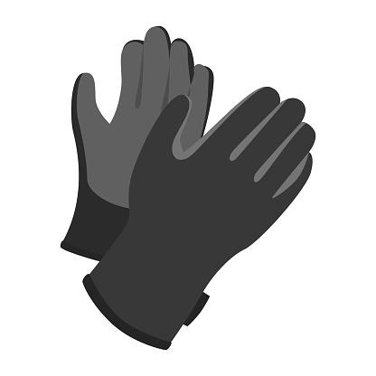Gloves worn in winter sports.