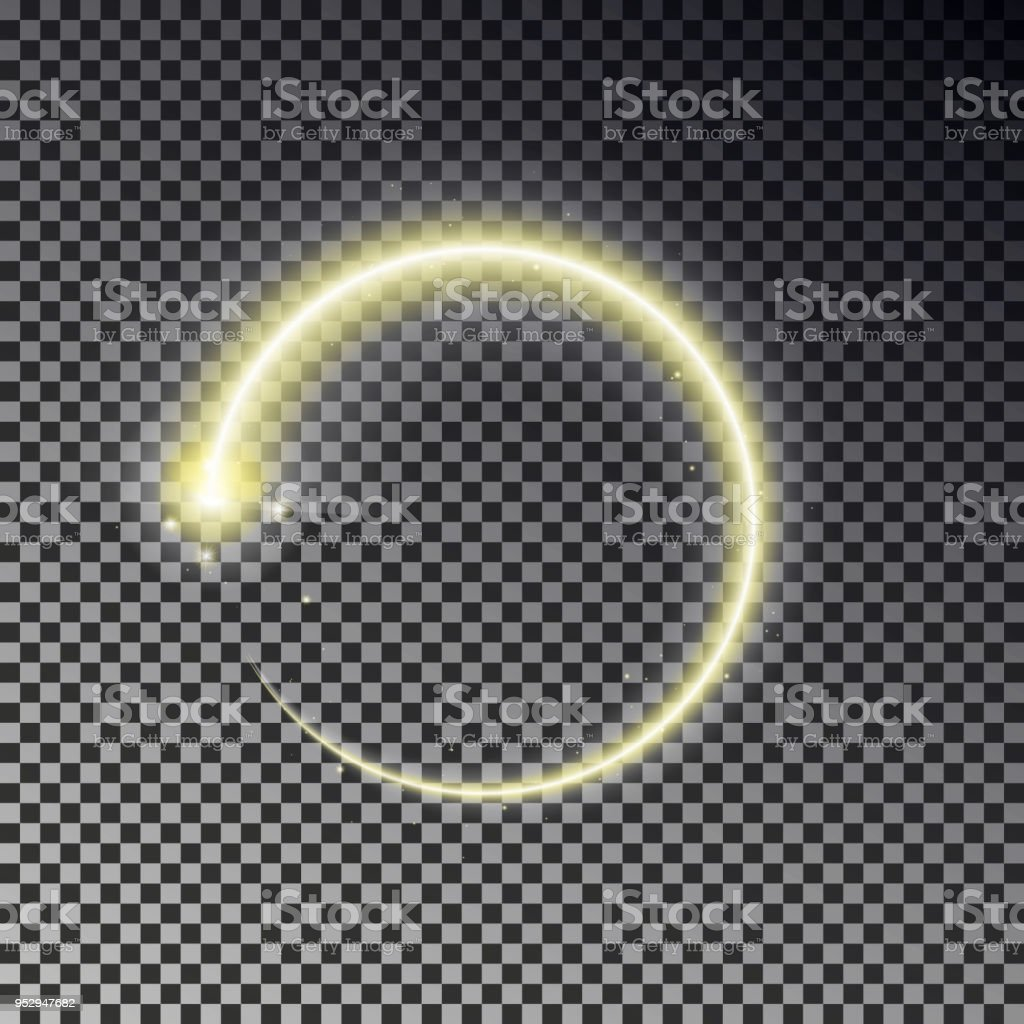 Glow Circle Light Effect Round Magic Yellow Frame Shine Circle ...