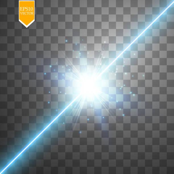 Glow isolated blue transparent effect, lens flare, explosion, glitter, line, sun flash, spark and stars. For illustration template art design, banner for Christmas celebrate, magic flash energy ray vector art illustration