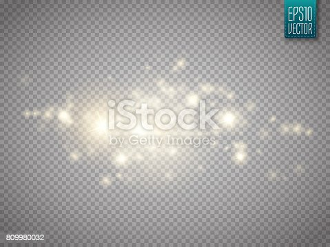 Glow light effect. Cloud of glittering dust. Vector illustration. Christmas flash Concept