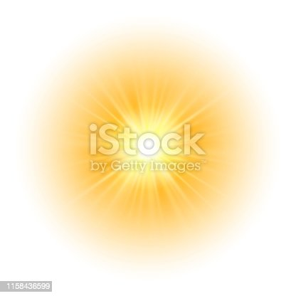 Glow light effect, explosion, glitter, spark, sun flash. Vector illustration.