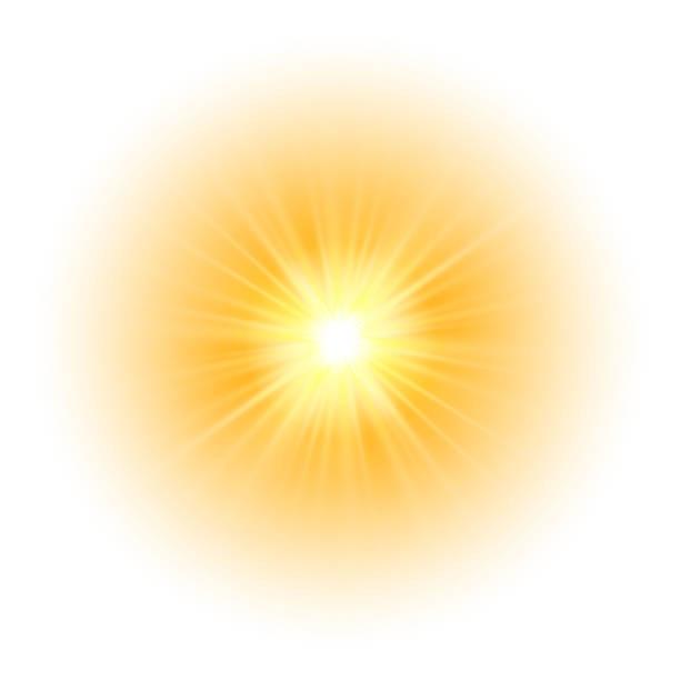 ilustrações de stock, clip art, desenhos animados e ícones de glow light effect, explosion, glitter, spark, sun flash. vector illustration - sol