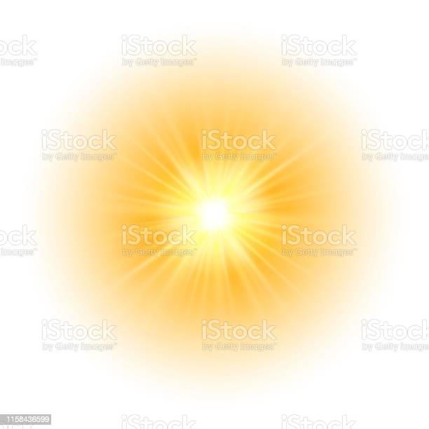 Vetores de Efeito Da Luz Do Fulgor Explosão Glitter Faísca Flash Do Sol Ilustração Do Vetor e mais imagens de Abstrato