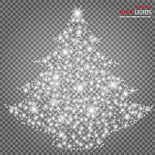 Glow light effect. Star burst with sparkles. Christmas tree Vector