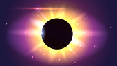Glow light effect. Star burst with sparkles. Solar eclipse, astronomical phenomenon. Light rays and lens flare horizontal backdrop. The planet covering the Sun