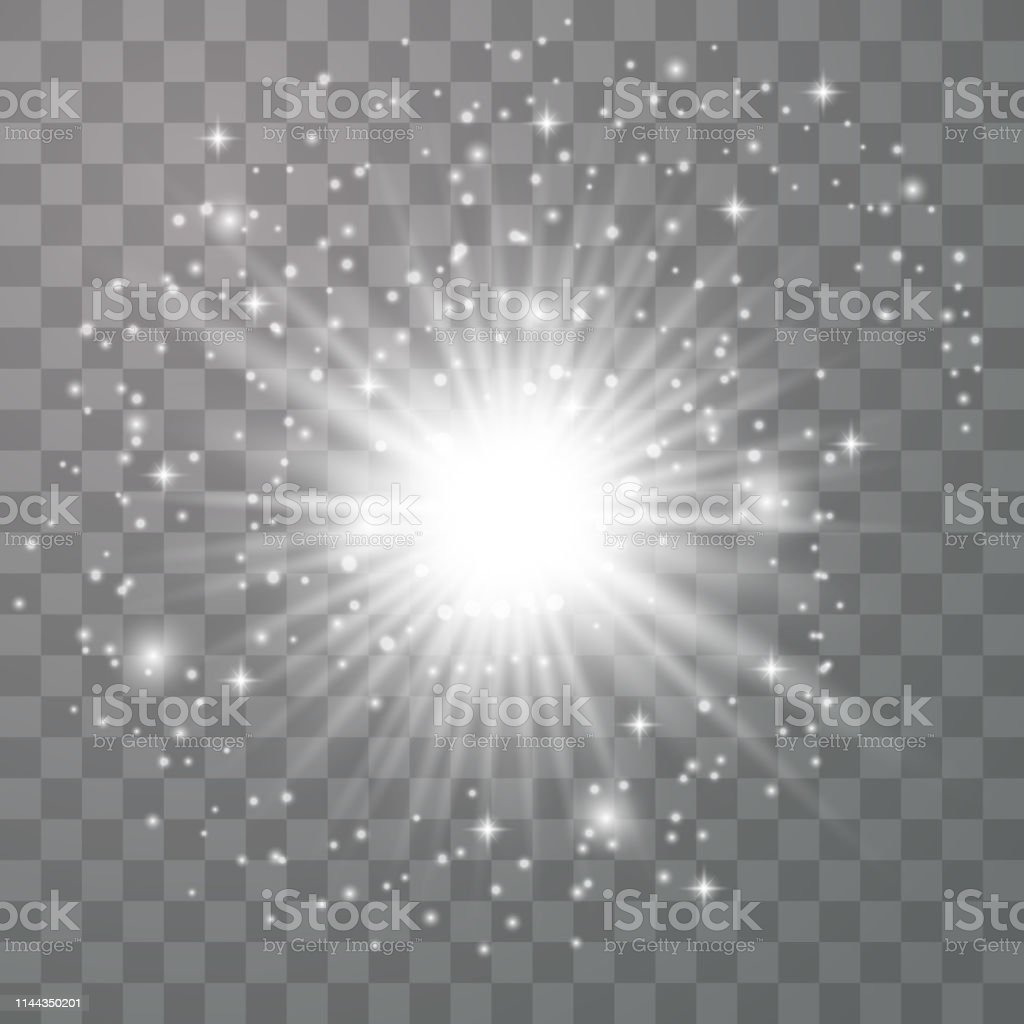 Glow light effect. Star burst with sparkles. Vector...
