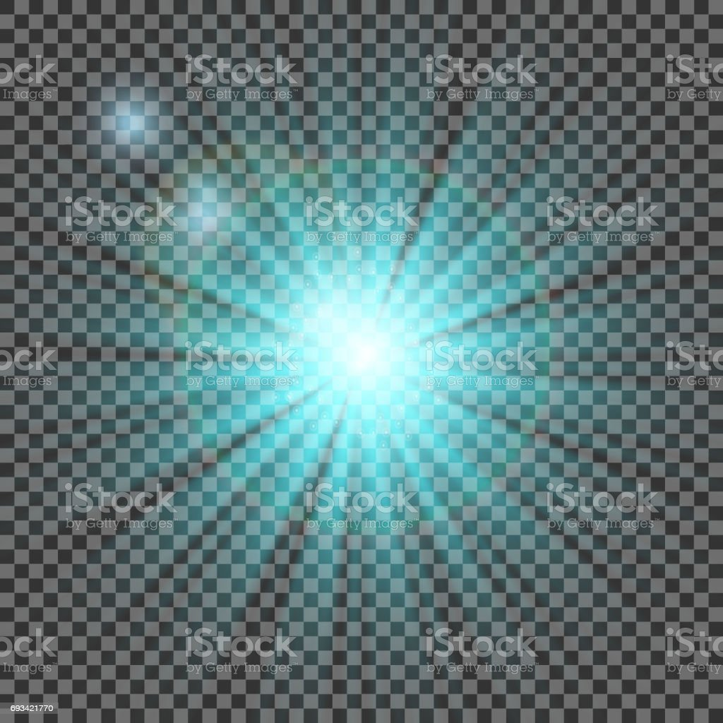 Glow light effect. Starburst with sparkles on transparent background. Vector illustration. Sun. Christmas flash. dust vector art illustration