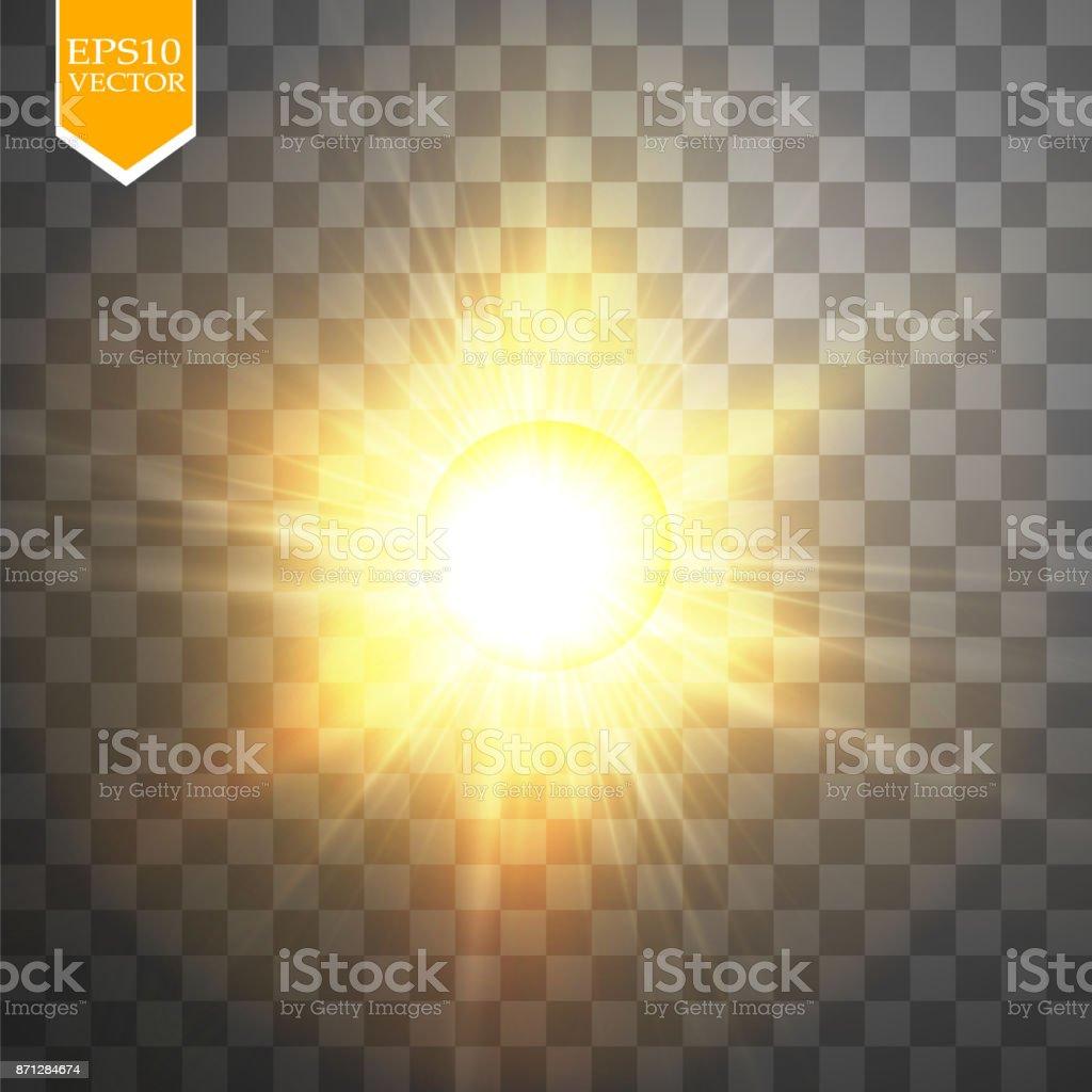 Glow light effect. Starburst with sparkles on transparent background. Vector illustration vector art illustration