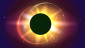 Glow light effect. The planet covering the Sun, Solar eclipse, astronomical phenomenon - full sun eclipse. Light rays and lens flare on space backdrop.