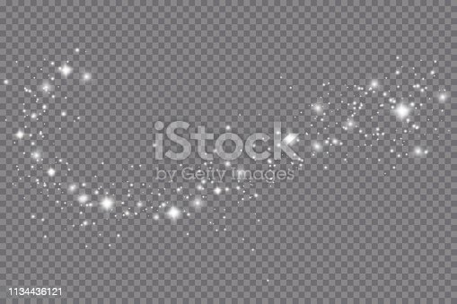 Glow light effect. Vector illustration. Christmas flash. dust.