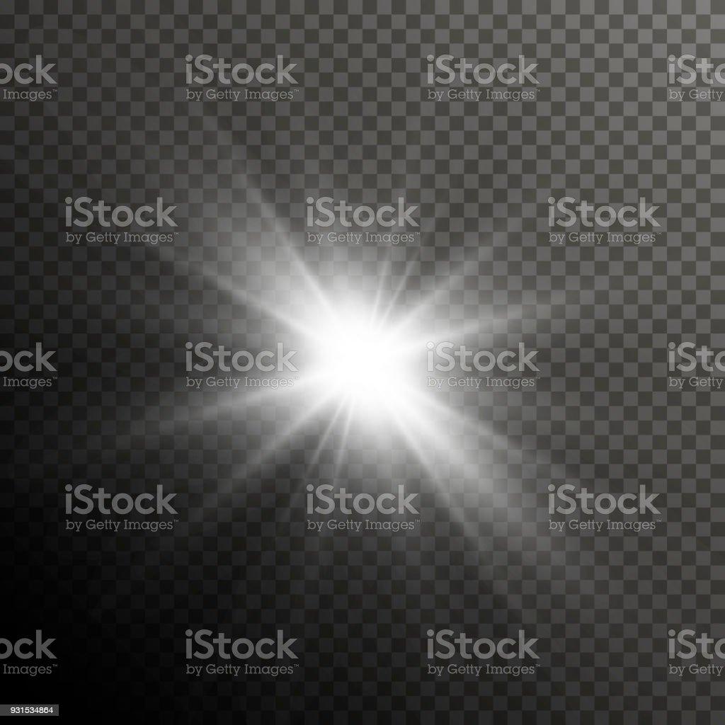 グロー光レンズ フレア特殊効果。キラキラと光沢のあるスター バースト。透明な太陽光線とスポット ライト フラッシュ - まぶしいのロイヤリティフリーベクトルアート