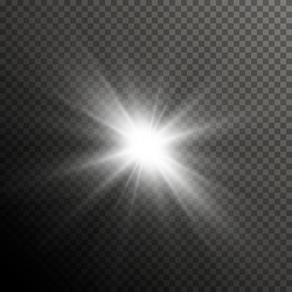 グロー光レンズ フレア特殊効果キラキラと光沢のあるスター バースト透明な太陽光線とスポット ライト フラッシュ - まぶしいのベクターアート素材や画像を多数ご用意