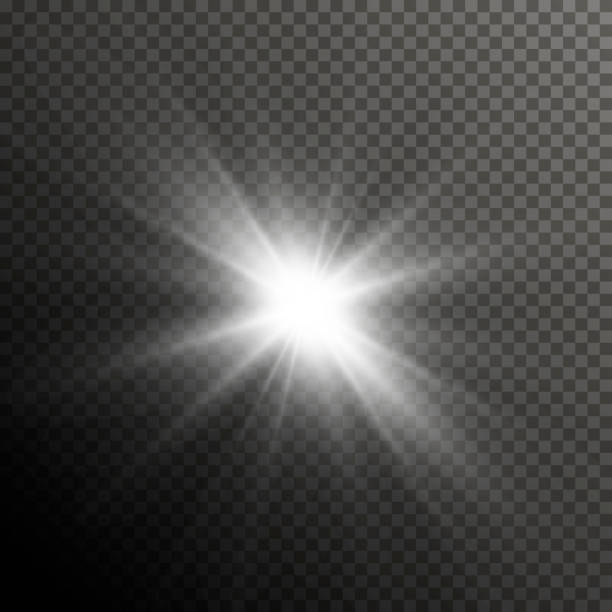 glow light lens flare special effect. shiny starburst with sparkles. transparent sun flash with spotlight and rays - reflektor światło elektryczne stock illustrations