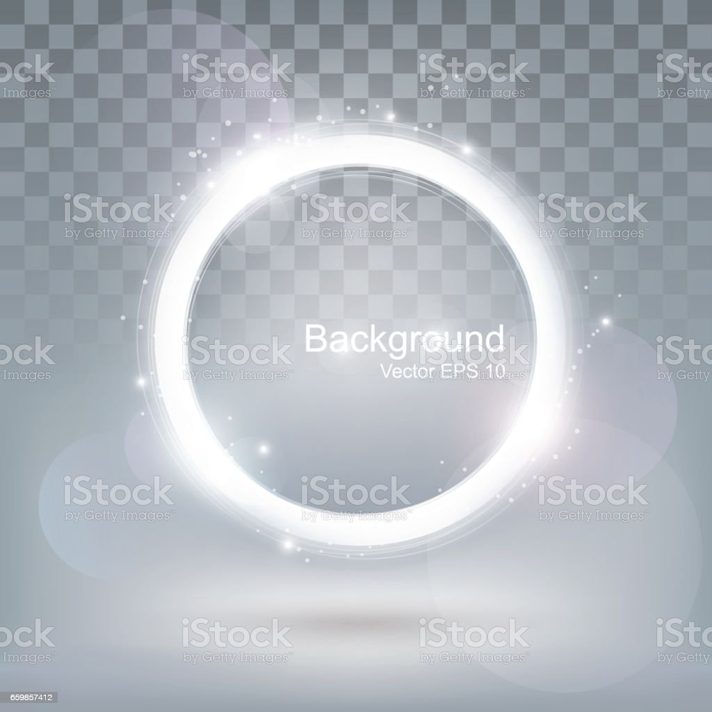 Glow light round shiny frame, glitter ring background, transparent, vector vector art illustration