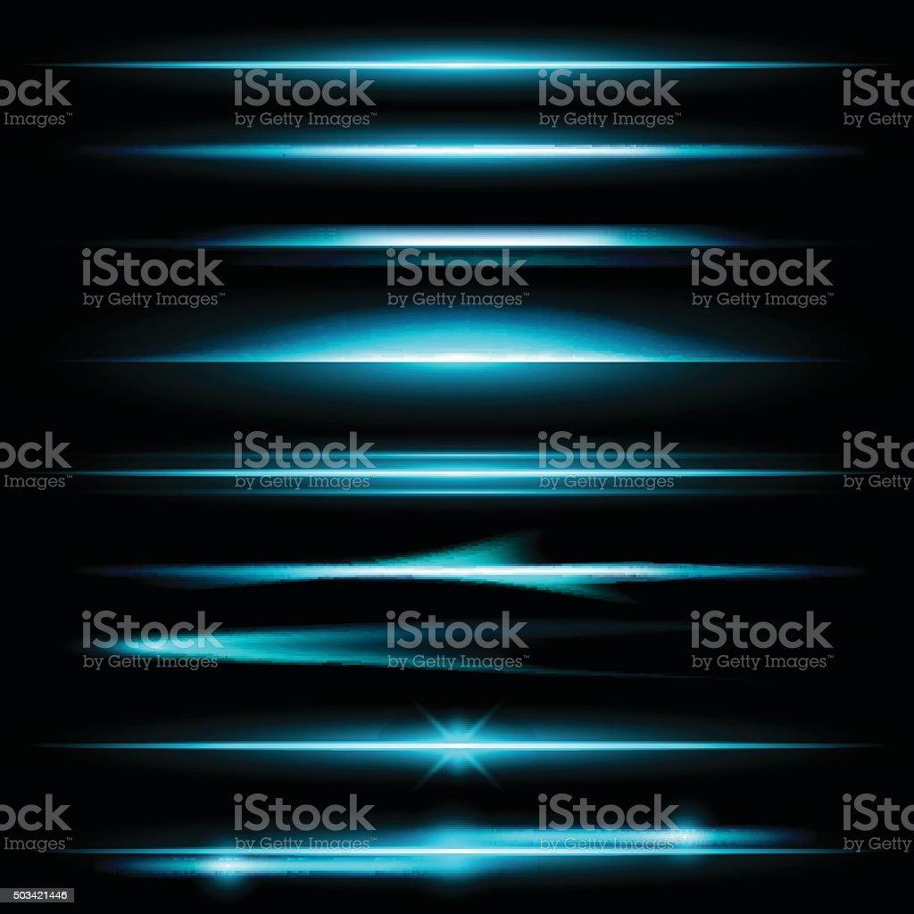 Glow lights set vector art illustration
