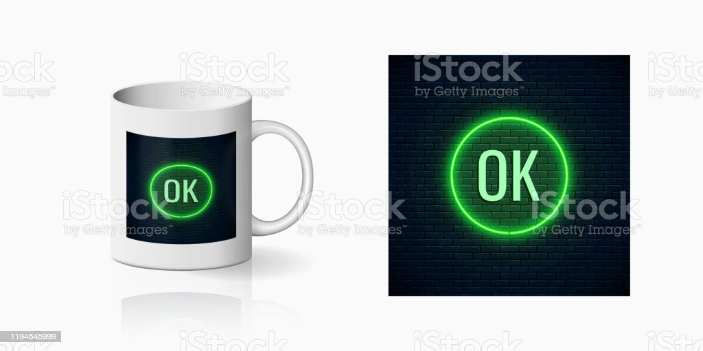 Glow Neon Ok Button Print For Cup Design Acceptance Button On Dark Brick Wall Background And Mug Mockup Stock Illustration Download Image Now Istock