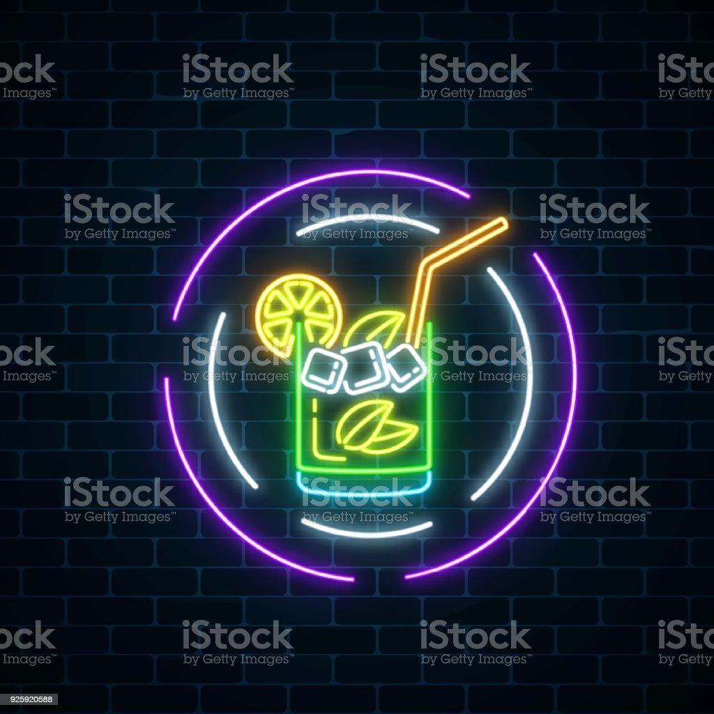 Glow Neon Symbol Der Cocktail Bar In Runden Rahmen Auf Dunklen ...