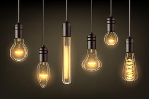 Glow realistic lamps. Incandescent light hang bulb wire vector illustrations set