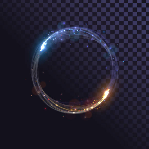 illustrazioni stock, clip art, cartoni animati e icone di tendenza di anello bagliore, effetto spin con scintille - ice on fire