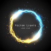 Glow round frame with electric discharge effect and many shine particles isolated on transparent background. Vector illustration. Collision of two forces with gold and blue light