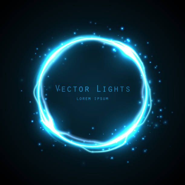 Glow round frame with many shine particles and electricity effect. vector art illustration