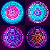 Glow spin neon circles set. Abstract background. Vector illustration