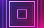 Glowing abstract square purple and pink gradient depth background zoom.
