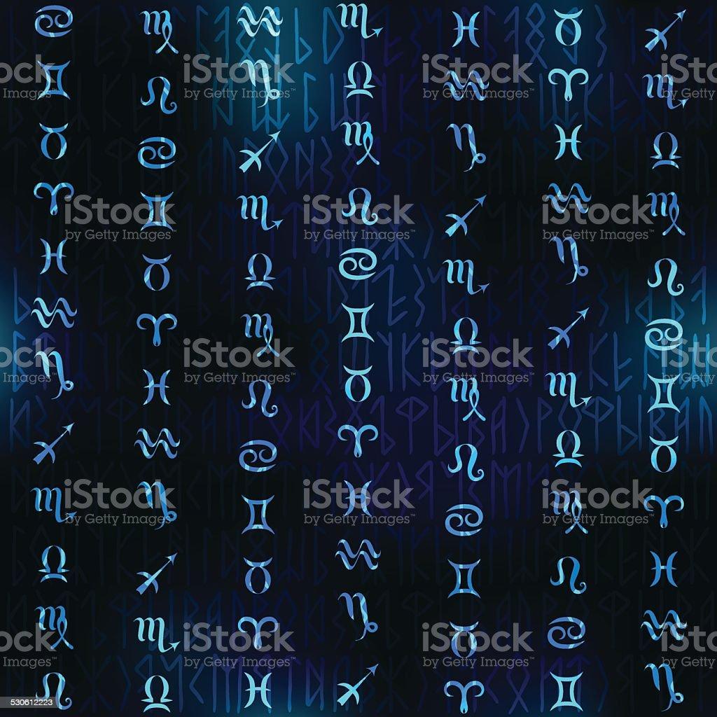 Glow Simboli Dello Zodiaco Con Sfocatura Sfondo Blu Navy Immagini