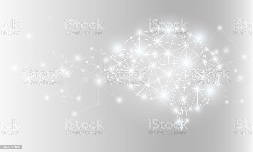 빛나는 인공 지능 두뇌 네트워크. 벡터 일러스트입니다. - 로열티 프리 개념 벡터 아트