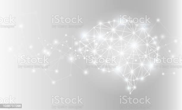 빛나는 인공 지능 두뇌 네트워크 벡터 일러스트입니다 개념에 대한 스톡 벡터 아트 및 기타 이미지